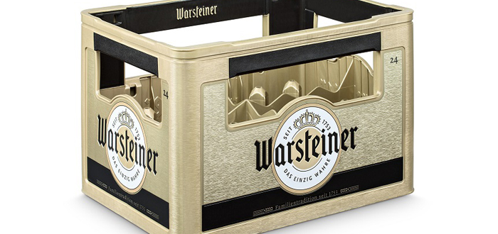 Warsteiner Brewery relies on Schoeller Allibert reusable containers  Golden Beer Crate underlines brand identity.